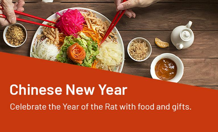 Chinese New Year. Celebrate the year of the Rat with food and gifts.