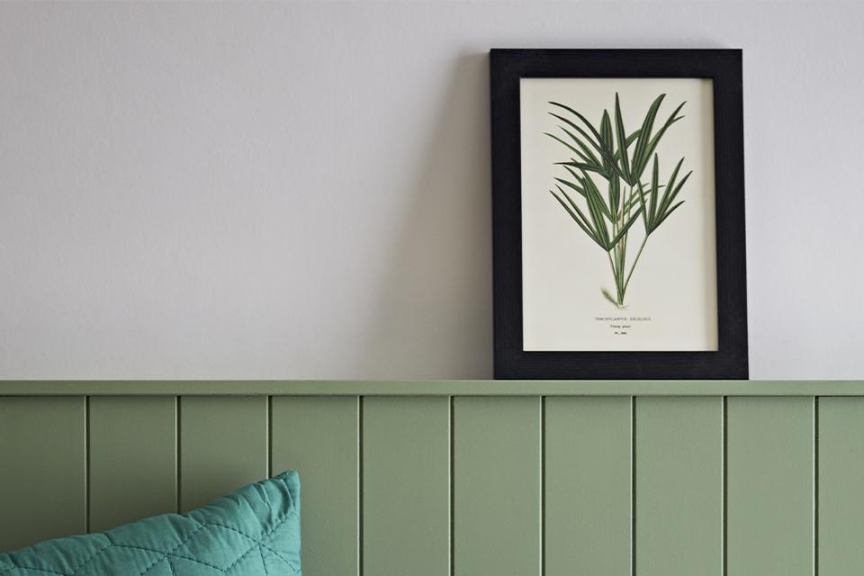A black framed botanical print resting on sage green wood panelling against a white wall.