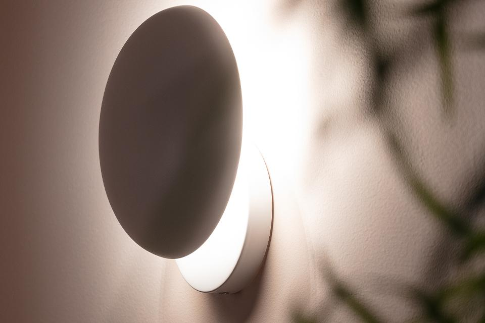 Image of a round wall lamp next to a plant.