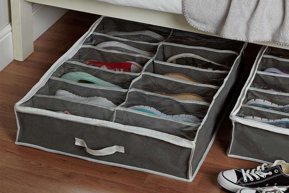 Fabric under bed shoe storage.