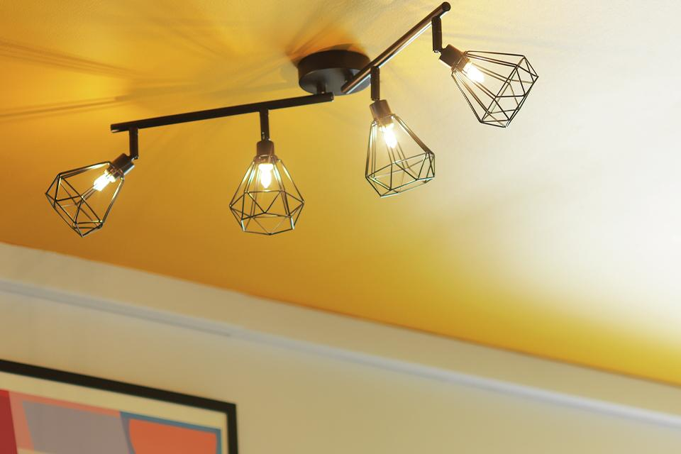 Image of a black spotlight bar with 4 lights with cage style shades.