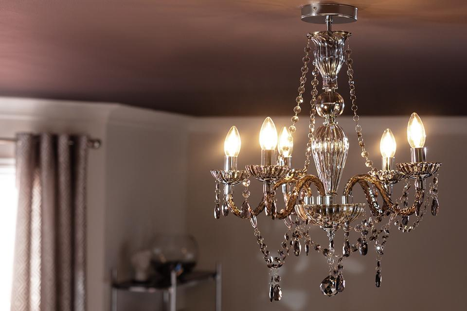 Image of a silver and glass chandelier.