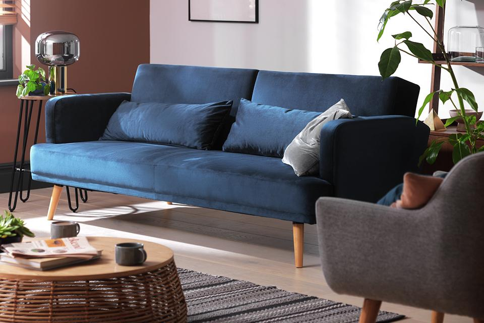 Habitat Andy 3 Seater Velvet Sofa Bed - Blue.