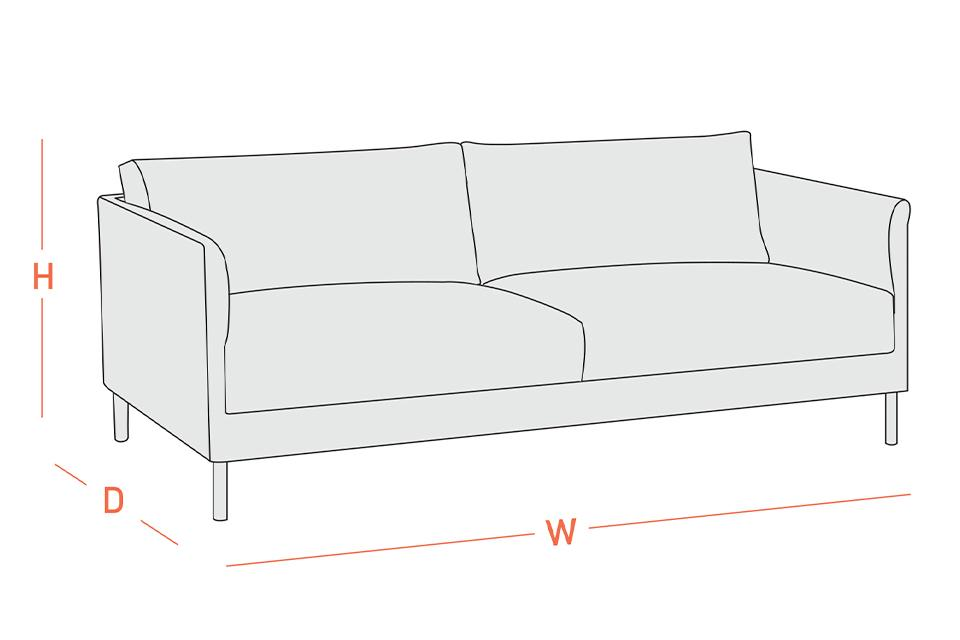 A diagram of a sofa showing how to measure the height, width, and depth.