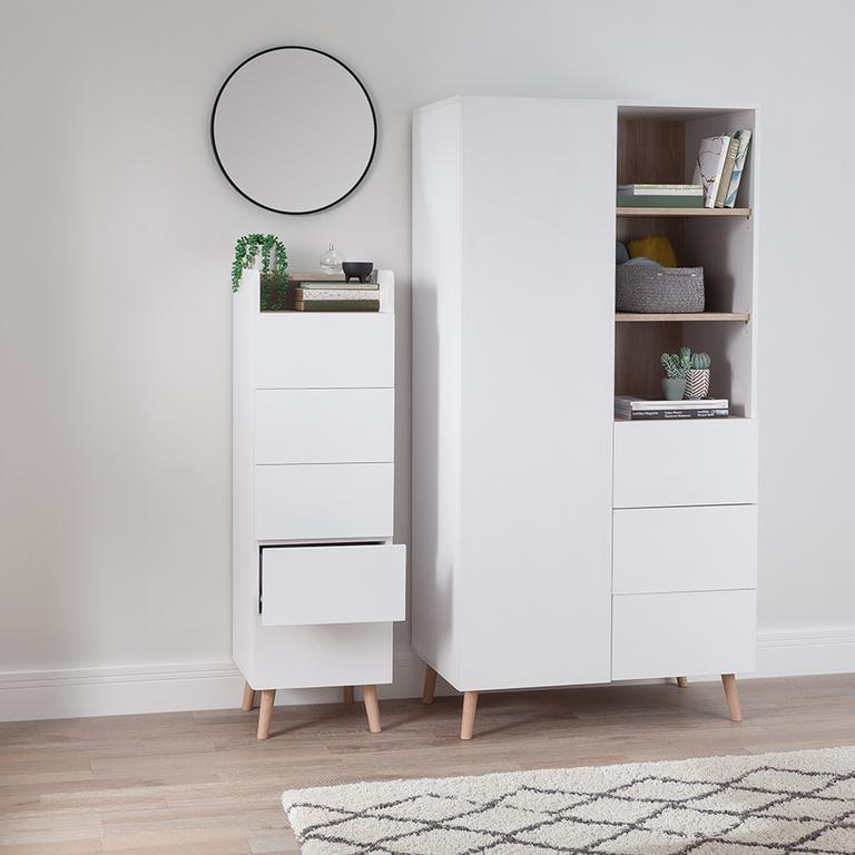 Skandi white wardobe and chest of drawers.