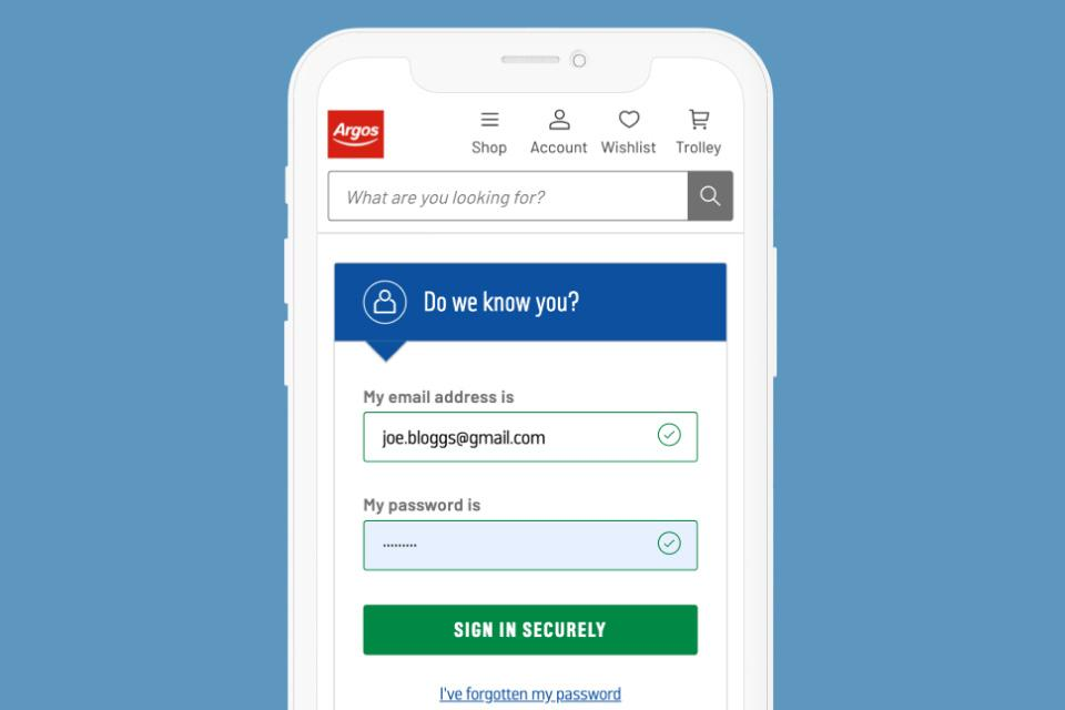 Mobile phone with Argos login page.