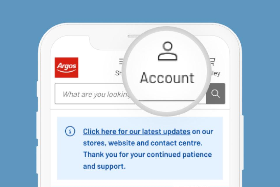 Mobile phone with Argos website and account highlighted.