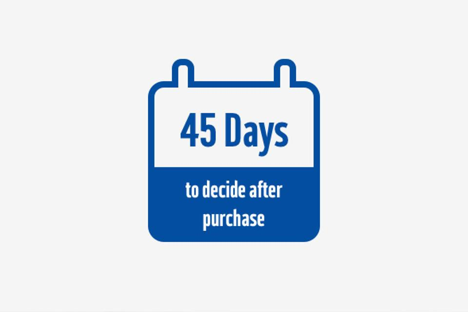 45 day to decide after purchase notification.