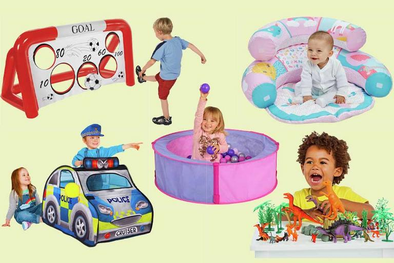 A composite image showing Chad Valley toys and games being used by babies, toddlers and small children.