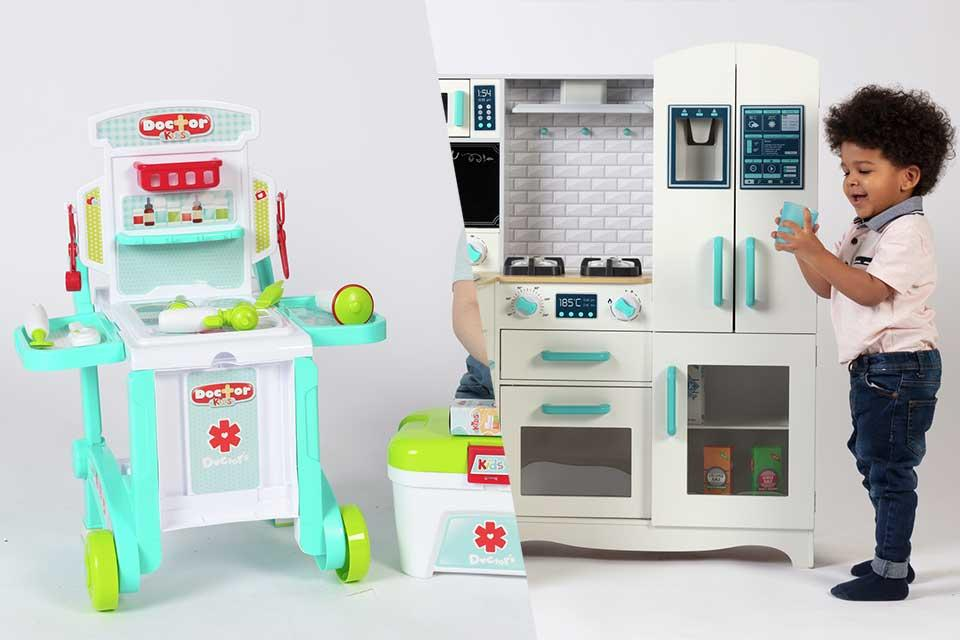 A composite image showing one toddler playing with a toy doctor's kit, and another child using a play kitchen.