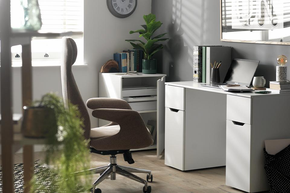 Image of a desk with two large storage drawers.