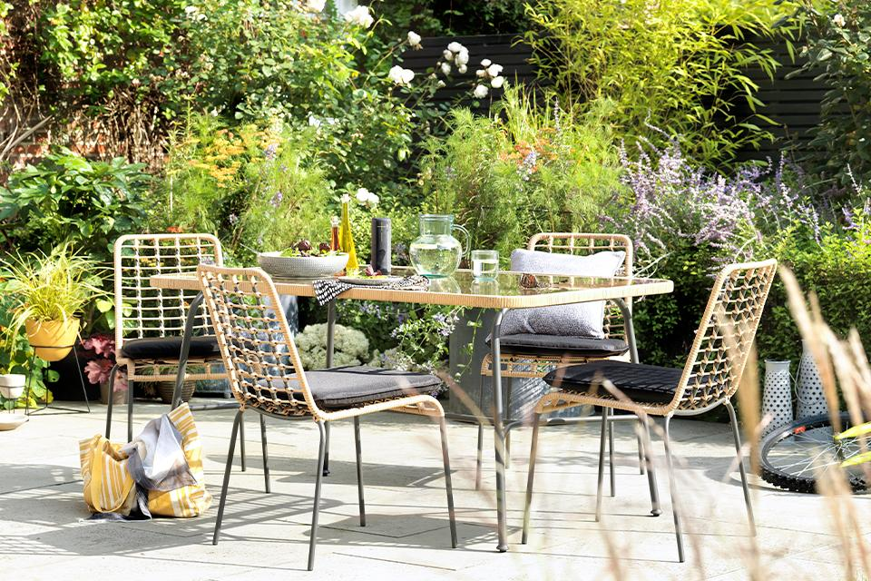 An image of a table and chair set in a patio.