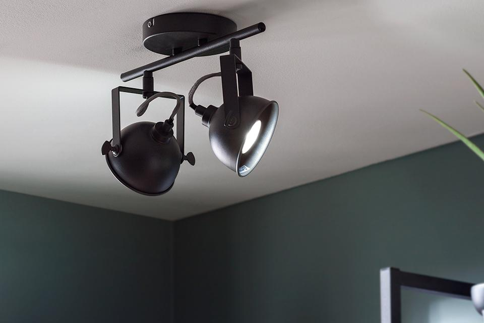 Image of a black spotlight bar with two lights pointing at shelves.