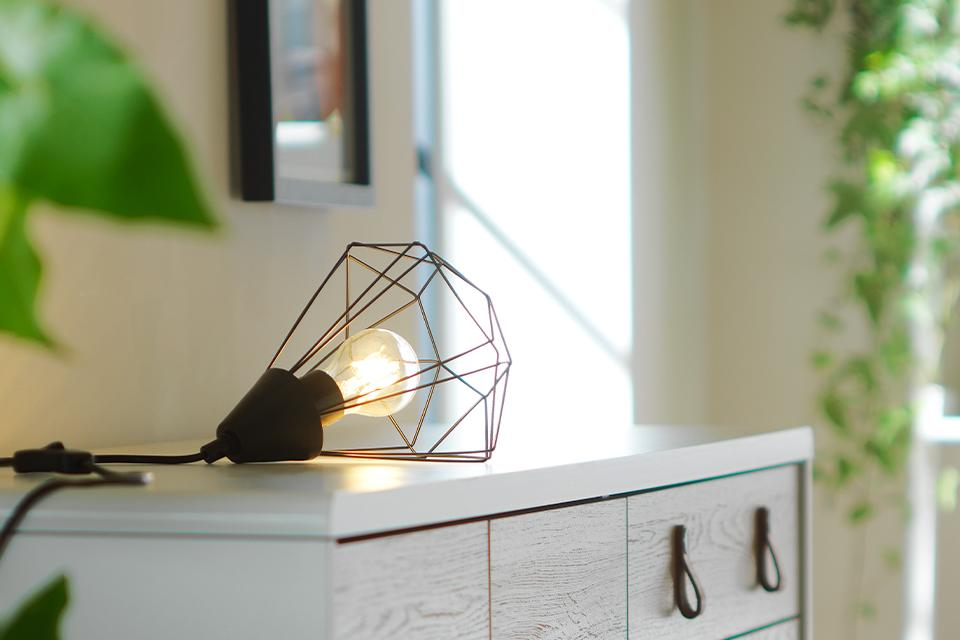 Image of a table lamp with an industrial style cage shade.