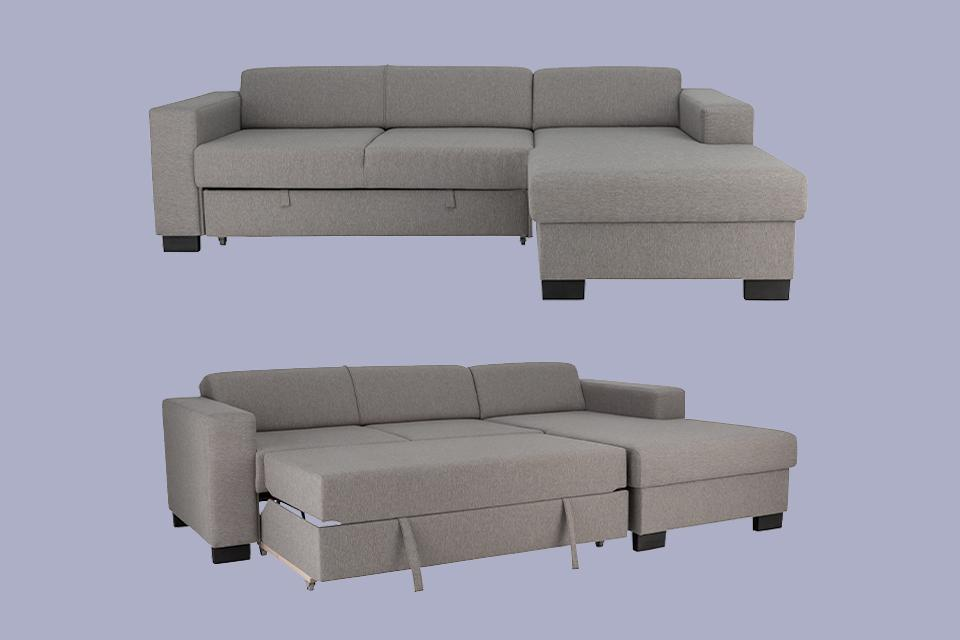 Image of a grey sofa bed with the bed section pulled out.