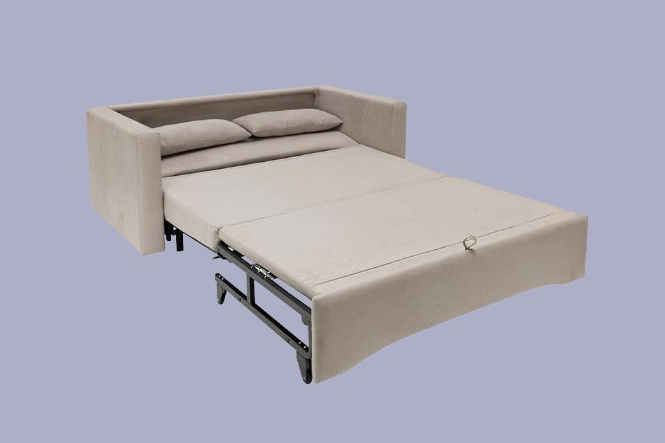 Image of a pulled out sofa bed.