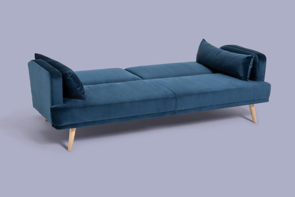 Image of a blue sofa bed.