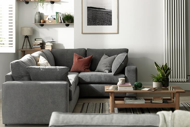 Habitat Eton Right Corner Fabric Sofa - Charcoal.