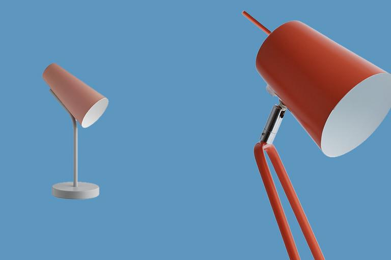 Pink and red desk lamp