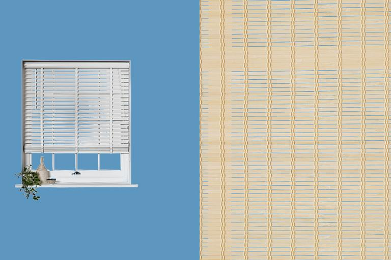 White and wicker venetian blinds.