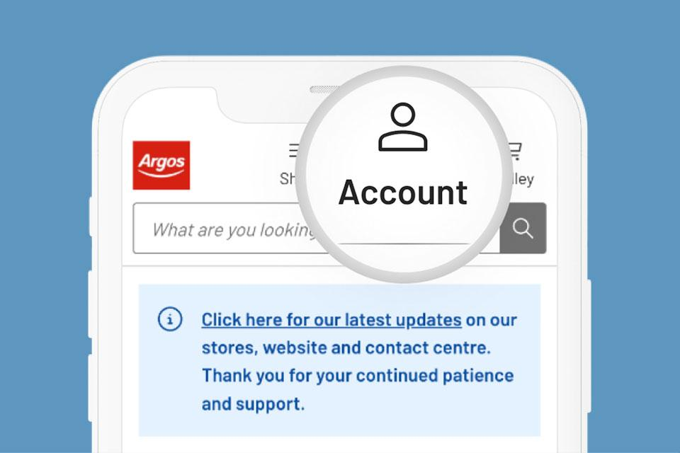 Argos website with account highlighted.