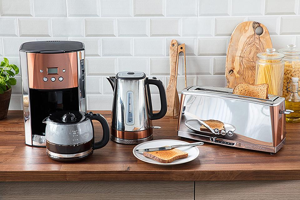 Russell Hobbs Luna Quiet Boil Jug Kettle,Toaster and coffee maker - Copper.