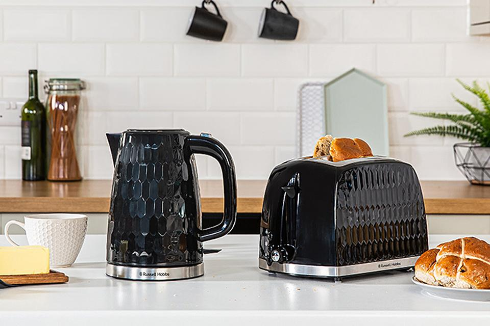 Russell Hobbs black Honeycomb kettle and toaster.
