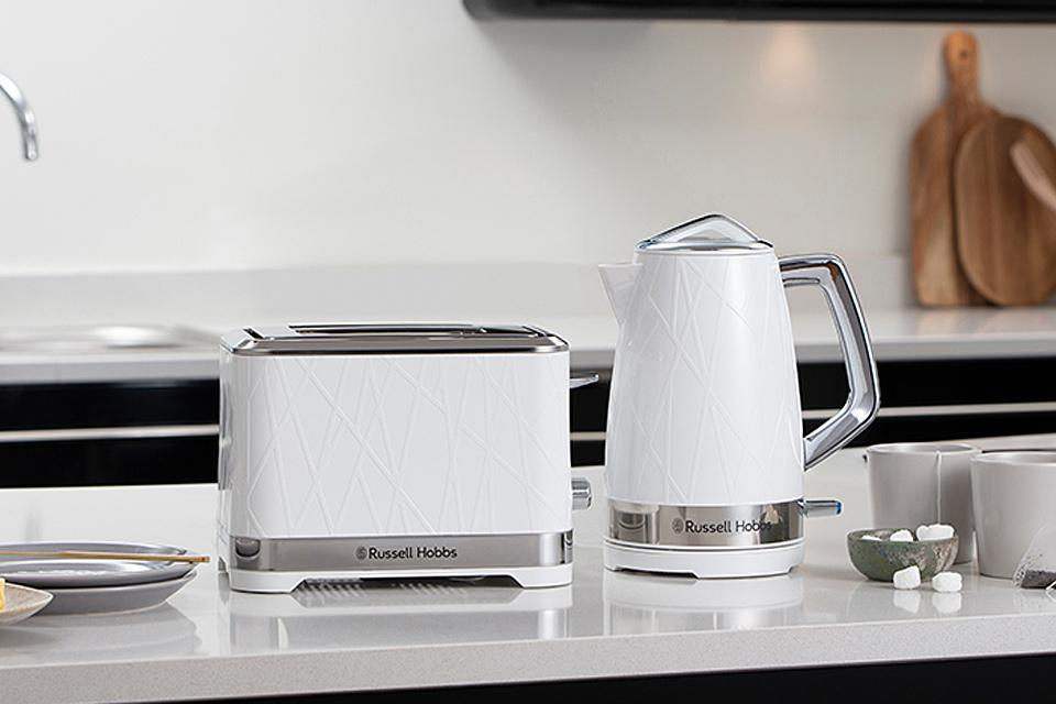 Russell Hobbs Structure Collection white kettle and toaster with stainless steel accents.