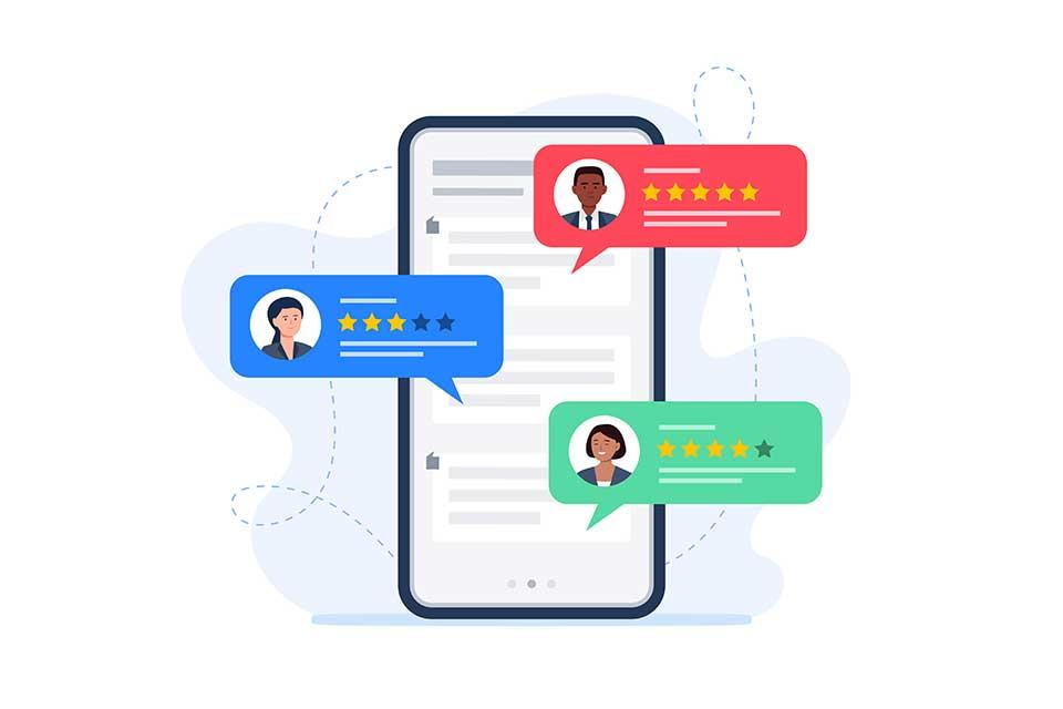 An image representing customer reviews on a phone screen.