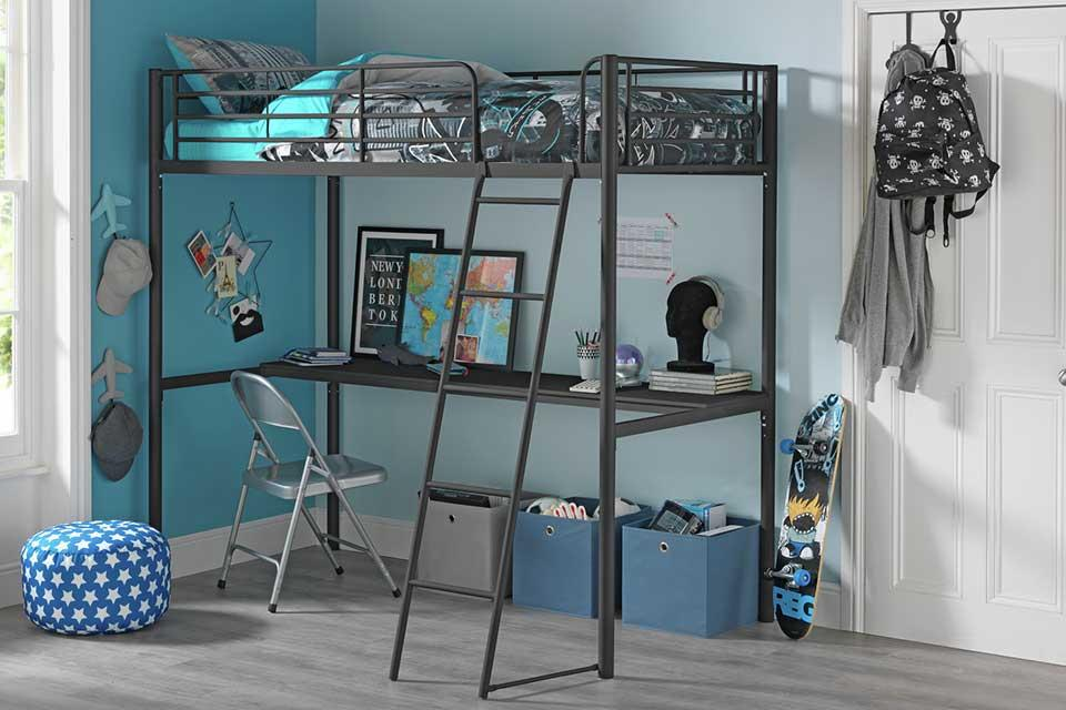 Black Argos Home Riley high sleeper metal bed frame and desk in a teen room.