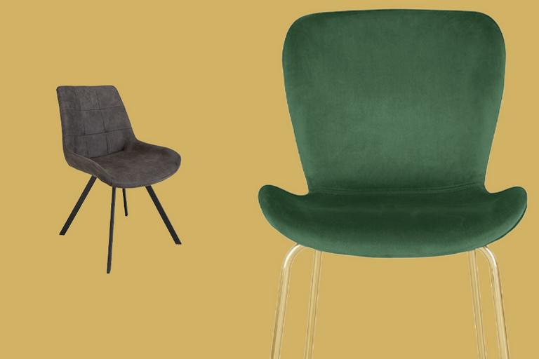 Grey velvet chair with brass legs.