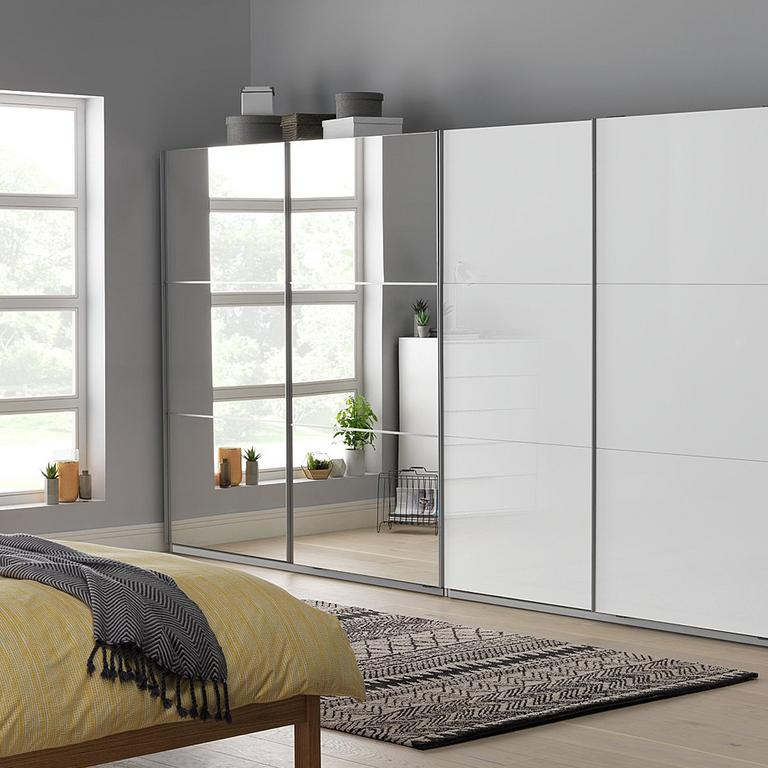 Holsted mirrored and Holsted white gloss wardrobes.
