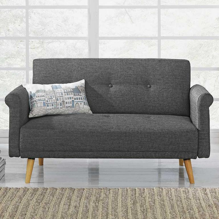 The charcoal Argos Home Evie 2-seater fabric sofa in a box in a modern lounge.