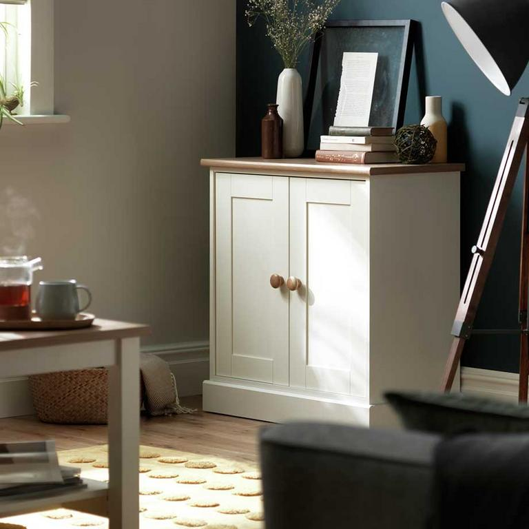 Habitat Winchester 2-door sideboard in a white and wood two-tone.