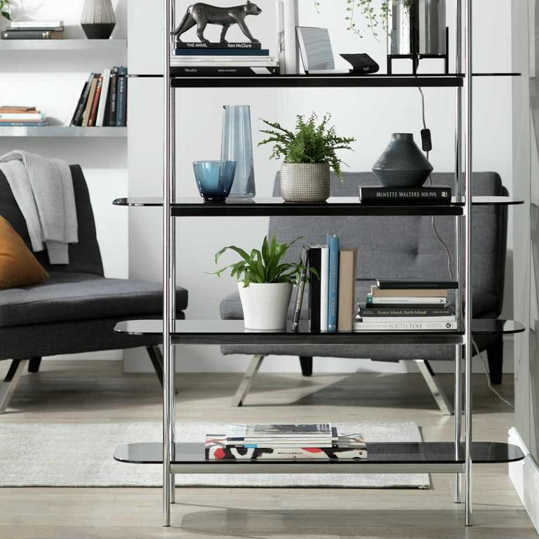 Habitat Neo 5-tier shelving unit in a modern lounge setting.