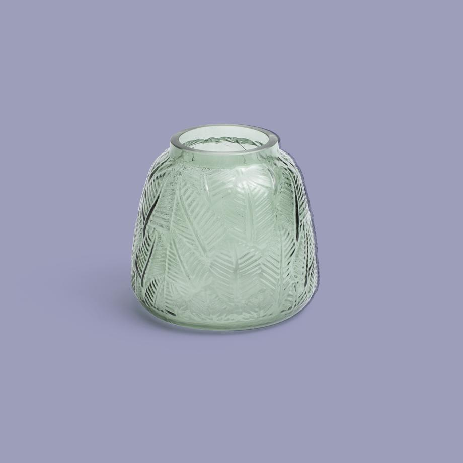 A textured light green glass vase.