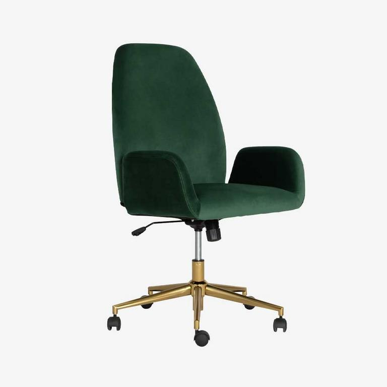 Green Argos Home Clarice velvet office chair with gold frame.
