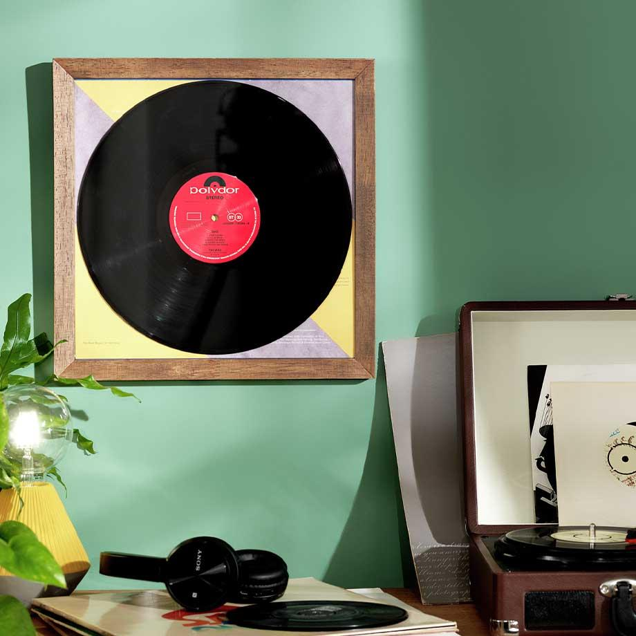 Record player wall art.