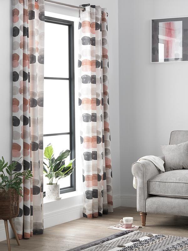 Circle print curtains.