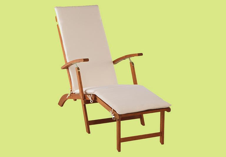 Argos Home wooden sun lounger with cushion in cream.