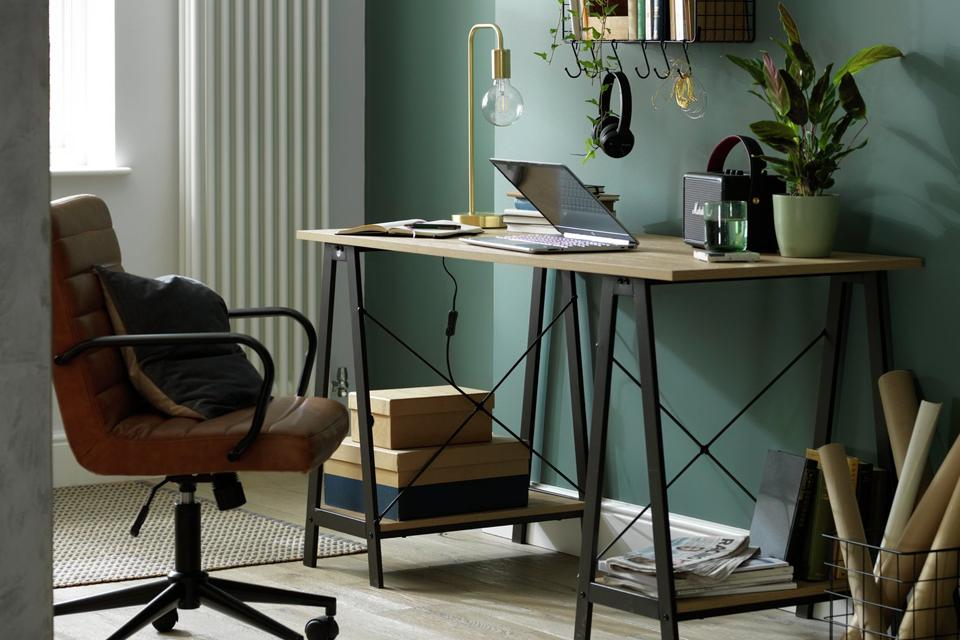 An office and desk chair.