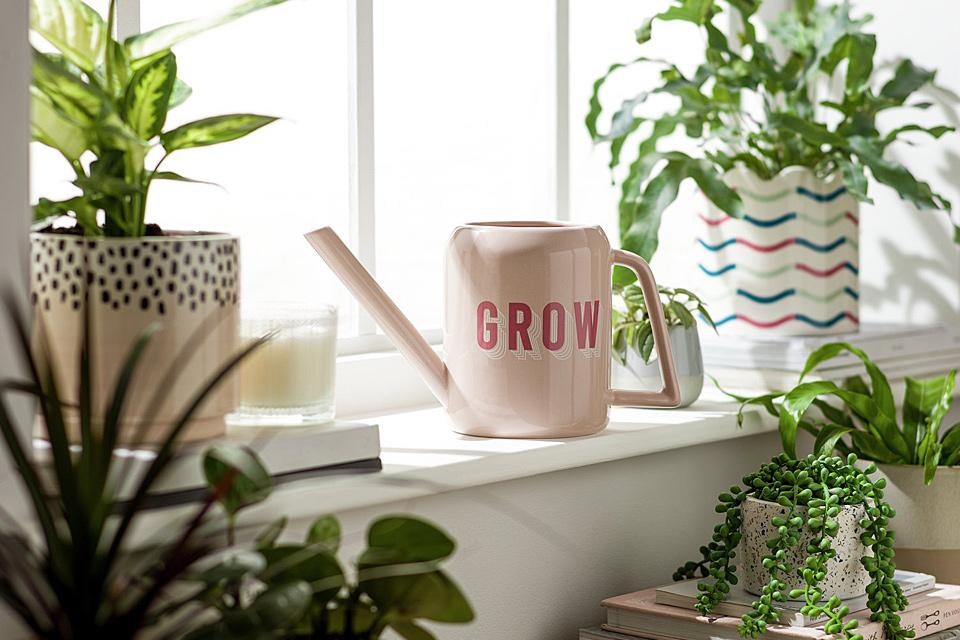 Image of pink watering can surrounded by plants.