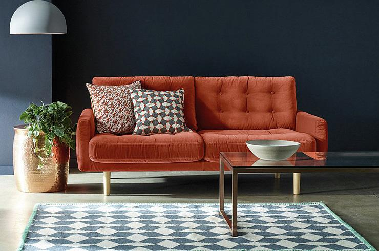 Habitat Fenner 2 Seater Velvet Sofa - Orange.