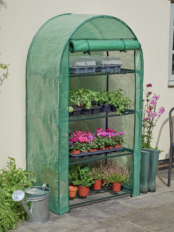 McGregor 4 tier mini greenhouse, with the door rolled up and full of plants.