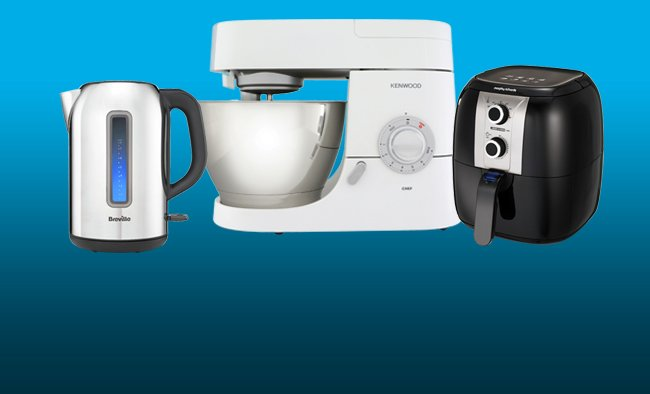 Savings on kitchen electricals including, kettles, stand mixers and fryers.