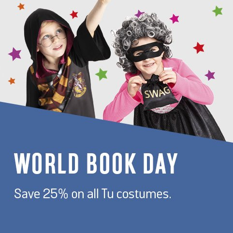 World Book Day. Save 25% on all Tu costumes.