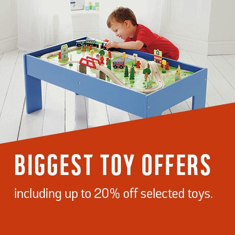 Biggest toy offers including up to 25% off selected toys.