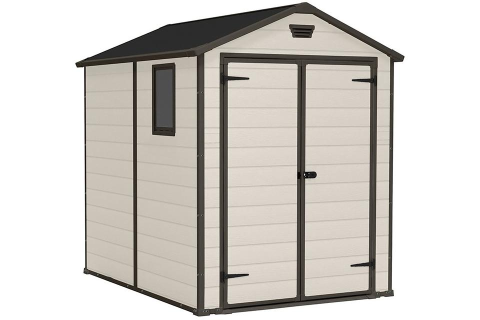 Garden Tool Shed Tall 6Ft Practical Wooden Outdoor Storage Cabinet Overlap Small