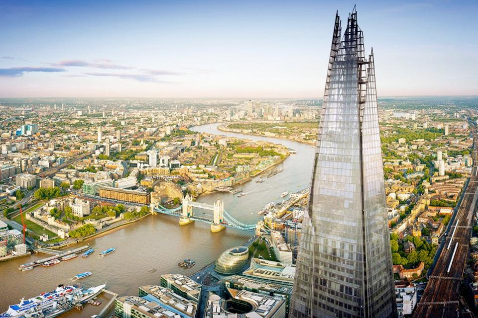 Bird's eye view of the River Thames, the Shard and London Bridge.