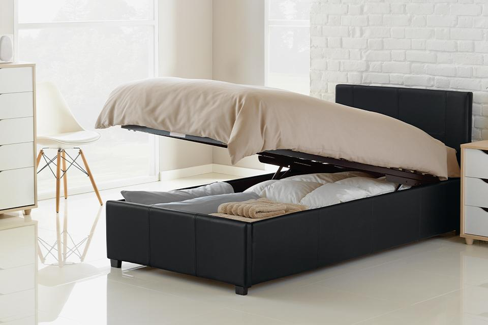 Single ottoman storage bed.